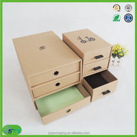 Shenzhen custom corrugated cardboard jewelry storage gift paper drawer box with paper handler