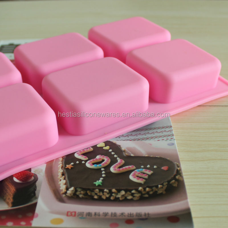 Hot 2014 food grade 6 cavities 7x6x2.5cm nonstick rectangle soap mold <strong>silicone</strong>