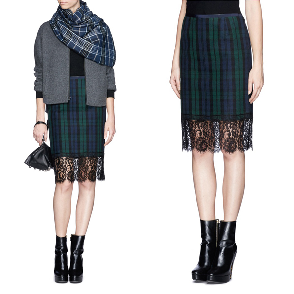 elegant ladies fashion green plaid print with lace trim scottish kilt skirt