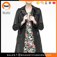 YEEL OEM outsourcing elegance sheepskin lady long design leather jackets made in india