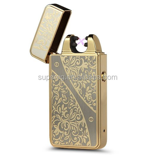Environmental No Gas Electronic Cigarette Lighter Rechargable 2.0 USB Power Double Arc Cigar Lighter with USB Charging Cable