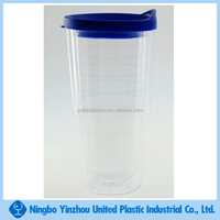 logo custom personalized double wall clear plastic tumbler with sealed cap