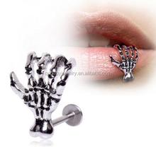 Skeleton hands 316L surgical steel lip piercing labret rings Body Jewelry