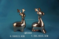 electroplating ceramic reindeer christmas decoration with different postures,as 2015 hot christmas craft ideas for adults