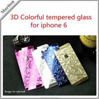 9H hardness 3D Color Full Screen Coverage titanium alloy tempered glass for iPhone 6 4.7inch