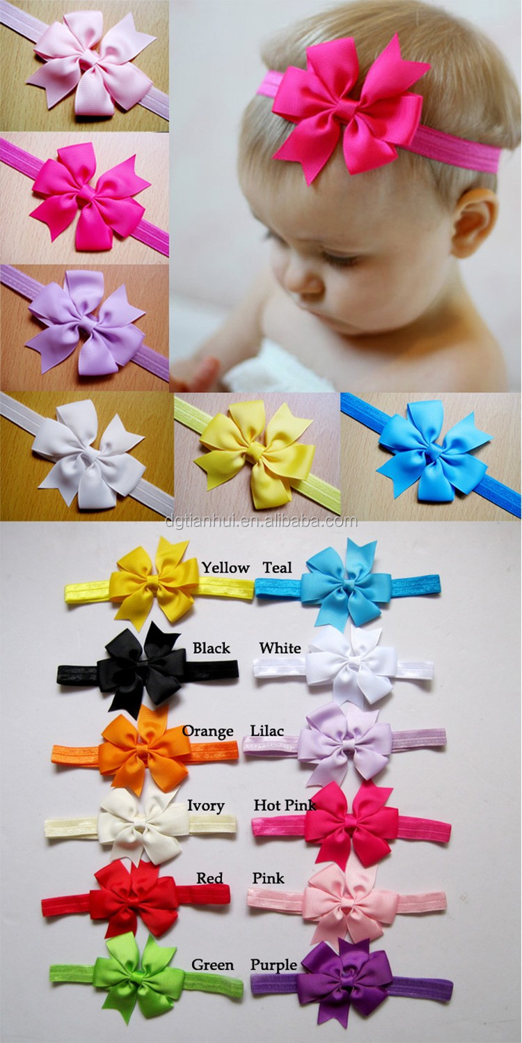2017 new design kids hair accessories hair wraps bow latest headband designs elastic fancy baby hairband