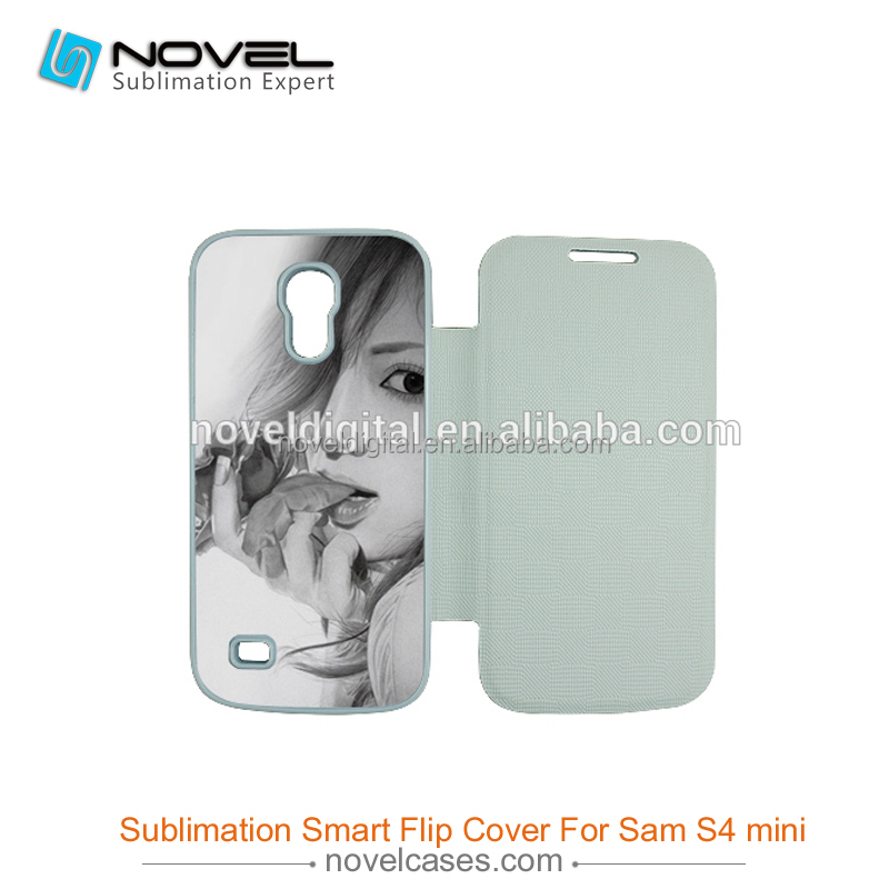 Latest Sublimation Foldable Flip Cover for Samsung Galaxy S4 Mini I9190, Sublimation Wallet Case