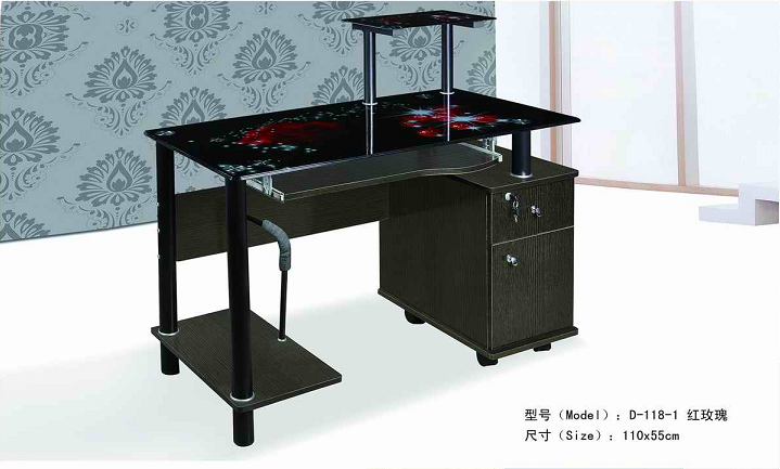 2016 modern design glass top wooden computer desk