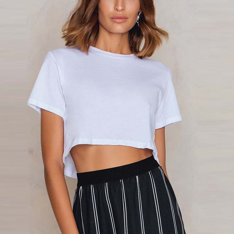 OEM lady blank oversized crop combed cotton scoop tee shirt