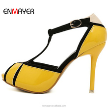 Beautiful pictures of women in high heel shoes genuine cow patent leather upper shallow estuary shoes sandal pumps