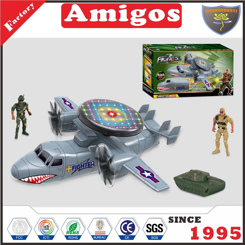 kids Electric Aircraft with light,soldier,tank hot toy airplane