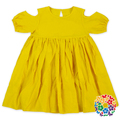 Summer Plain Yellow Girls Cotton Frock Designs Off Shoulder 3 Year Old Girl Dress Latest Design Baby Frock