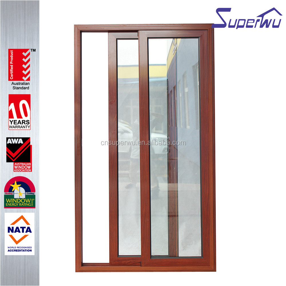Luxury design wooden color aluminum frame sliding door for residential house