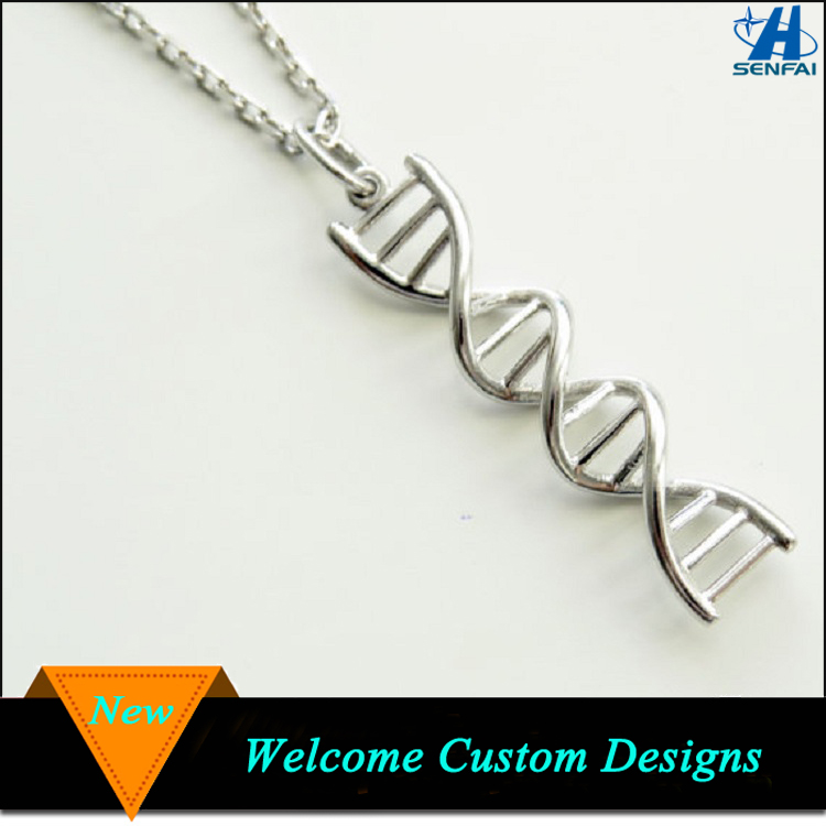 Fashion Science Jewelry 2016 Silver Chromosome DNA Molecular Necklace for Doctor