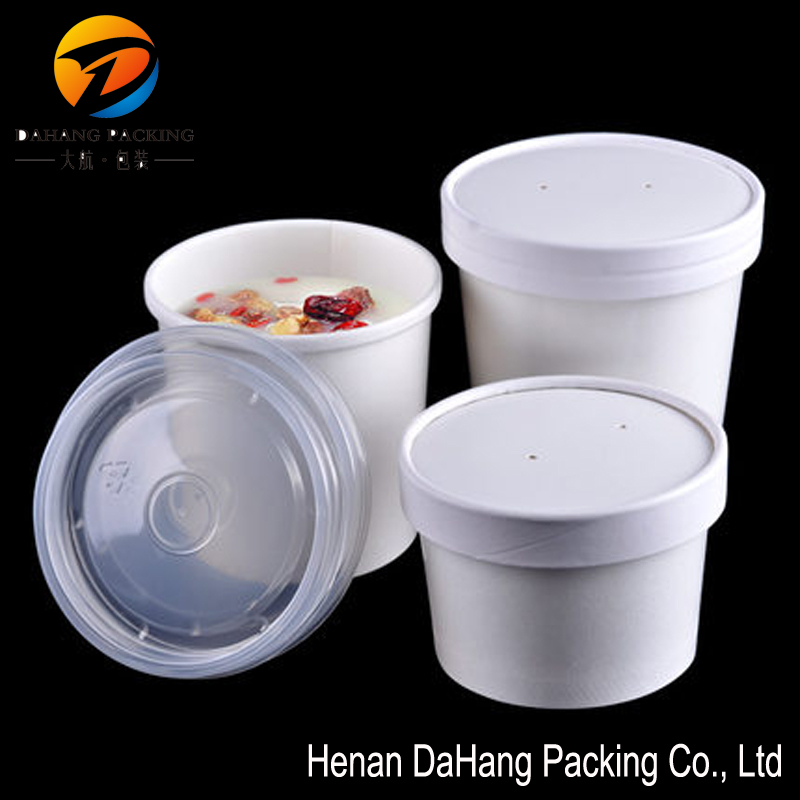 Disposable paper take away hot soup container bowl cup with lid