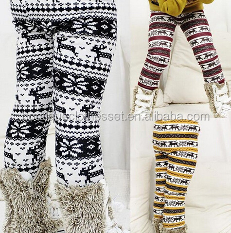 Wholesale kids cotton ruffle leg warmer aztec legging winter pants