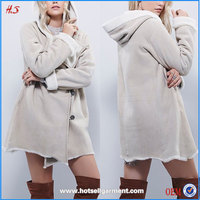 China supplier beautiful popular style suede hooded coat woman wear coat