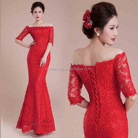 charming vintage hollow half sleeve lace applique bateau neckline sexy red mermaid wedding dress/gowns 2014