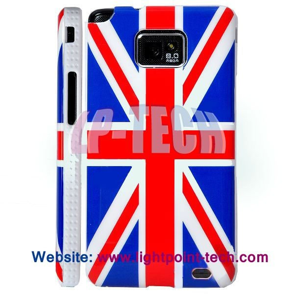 Plastic US uk flag case for galaxy s2 i9100