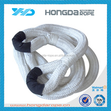 1 inch diameter rope nylon double braided rope with eye ring,white
