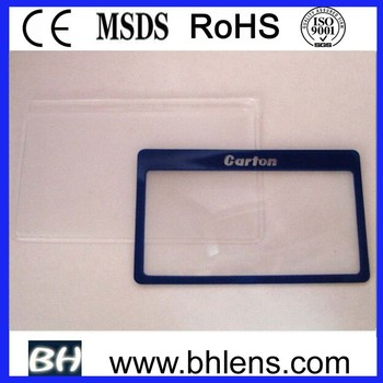 Transparent BHM-02 card size magnifying glass sheet