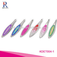 Switzerland Cosmetics Bling Crystal Bead Stainless Steel Slanted Tip Eyebrow Tweezers