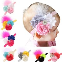 Hot Sale High Recommend Baby Infant Toddler Girl Faux Pearl Rhinestone Flower Headband Hair Band Headdress with feather