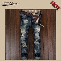 New design denim jeans wholesale china OEM SERVICE high quality skinny damaged ripped denim jeans men
