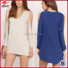 New design long sleeve chiffon summer breeze shift dress for women
