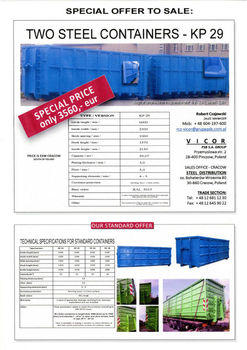 SPECIAL OFFER TO SALE - STEEL CONTAINERS - VERY GOOD PRICE !