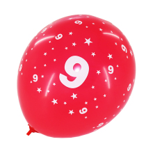 red color biodegradable number 8 printed latex balloons
