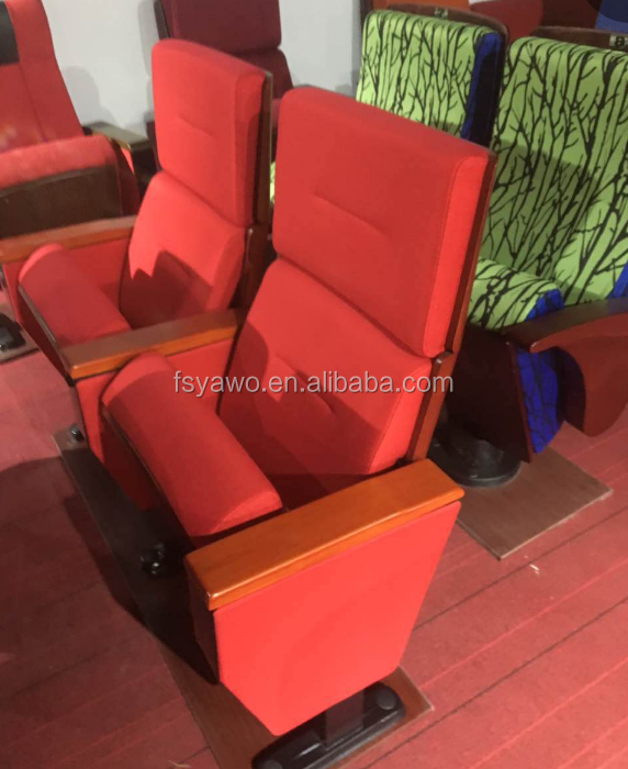 Metal material type lecture hall solid wood arms red fabric high back auditorium seating with writing tablet YA-605