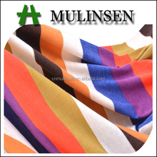 Mulinsen Textile Soft Hand Feeling Knit Jersey Stretch 32S Polyester Spun Vertical Stripe Fabric for Women Clothing
