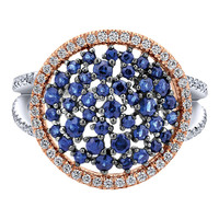 Jewelry from thailand blue stone gold ring double color plating