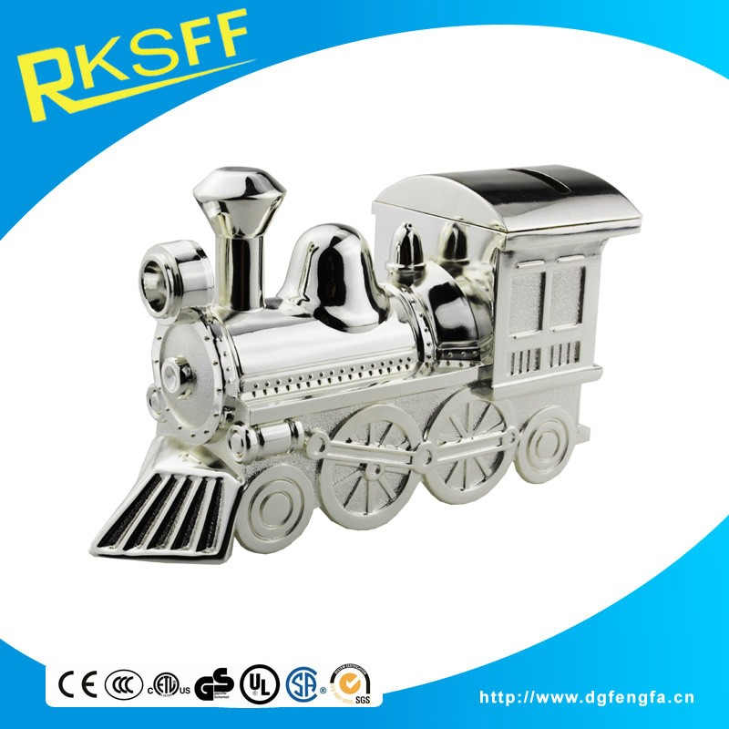 China wholesale novelty train shape coin bank for baby gifts