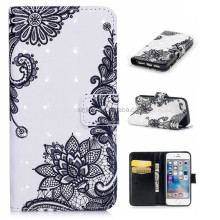 Customized PU Leather Wallet Stand Cell Phone Case Flower Butterfly Print Cover for Apple Iphone 6 plus