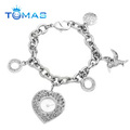 Promotion Gifts Heart Chain Bracelet With Pendant Custom Metal Bracelets