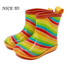New 2017 Kids Rainbow Rainboots Girls Striped Patch Antiskid Wellies Children Autumn Rain Boots Boys Cartoon Boots