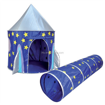 Kids indoor or outdoort Kingdom space rocket pop up silver coating play tent