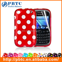 Set Screen Protector And Case For Blackberry 9320 , Colorful Gel TPU Polka Dots Case