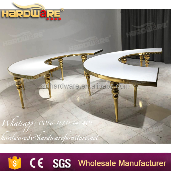 heart shape mdf wedding table , half-heart banquet dining table