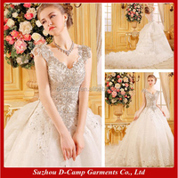 WD074 Fancy heavy hand beaded ball gown weeding dress long tail luxury wedding dresses