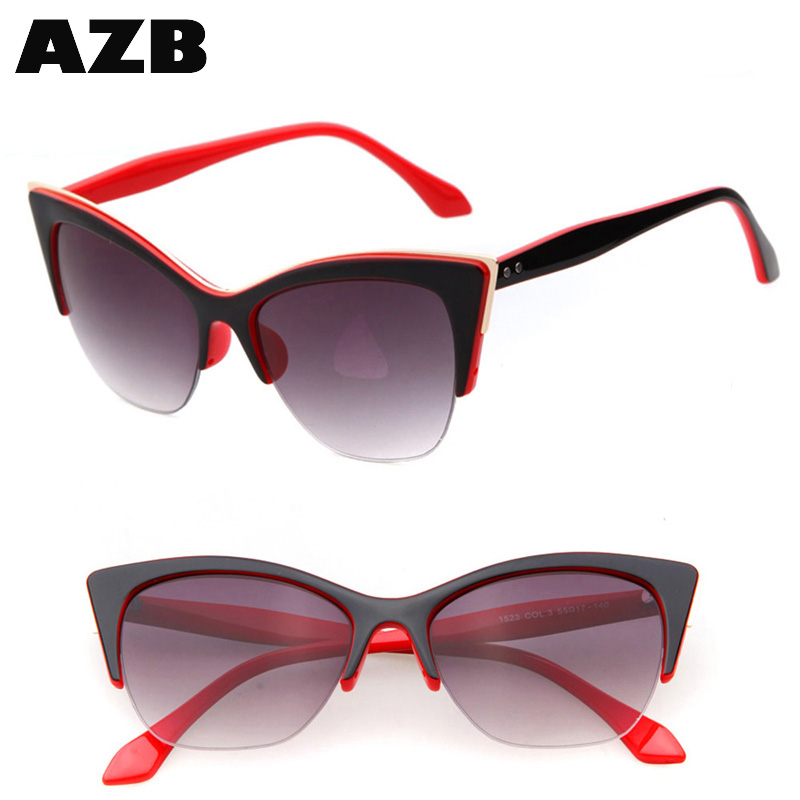 AZB Hot selling sunglasses Newest Half-Frame Cat Eye Sunglasses Gafas Oculos De Sol UV400 dropshiping