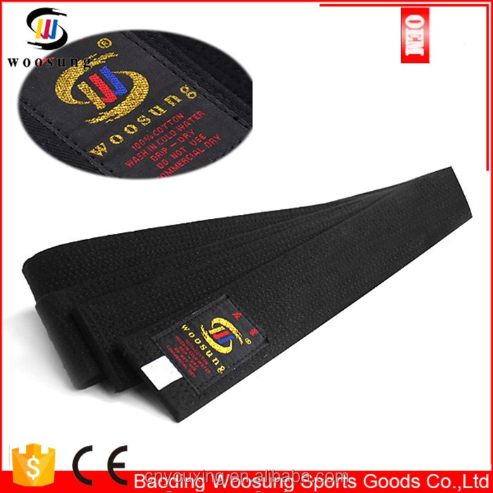 Long size black belt taekwondo karate deluxe belt black
