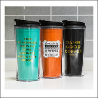 hot selling advertising mug cup/wholesales paper insert coffee travel mug/12oz bpa free double wall insulated plastic coffee cup