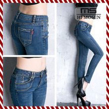 N18023 Spring European New Fashion Ladies Pencil Pants Sexy Long Woman Skinny Jeans