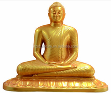 Artificial golden fiberglass life size thai buddha statue with meditating