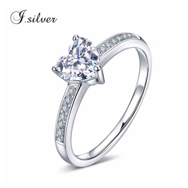 Wholesale 925 silver anillos de plata diamond wedding ring with heart shaped cz stone R30134