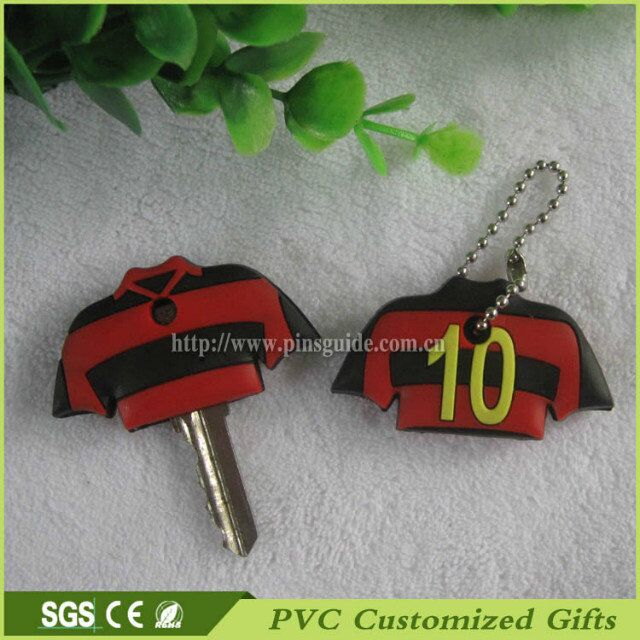3d custom soft pvc silicone car key cover with polo shirts design