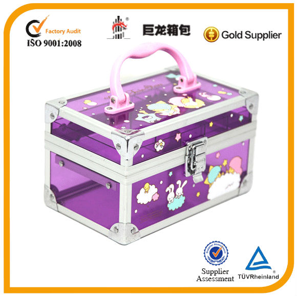 Acrylic cute ptinted cosmetic case/transparent beauty bag,jewelry case
